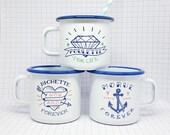"""Set of 3 enamel mugs """"Morue Forever, Poulette For life & Bichette Forever"""""""