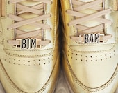 "Lace locks for sneakers ""BIM BAM"" black enamel and gold plated"