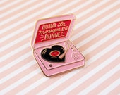 Pink Record player enamel pin gift for music lover