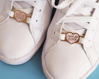 Trop de love heart pink pastel lace locks for sneakers