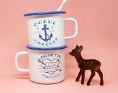 """Set of 2 enamel mugs """"Morue Forever & Bichette Forever"""""""