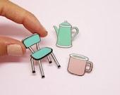 "Set of 3 enamel pin ""Vintage tea time"" blue, mint and pink pastel"