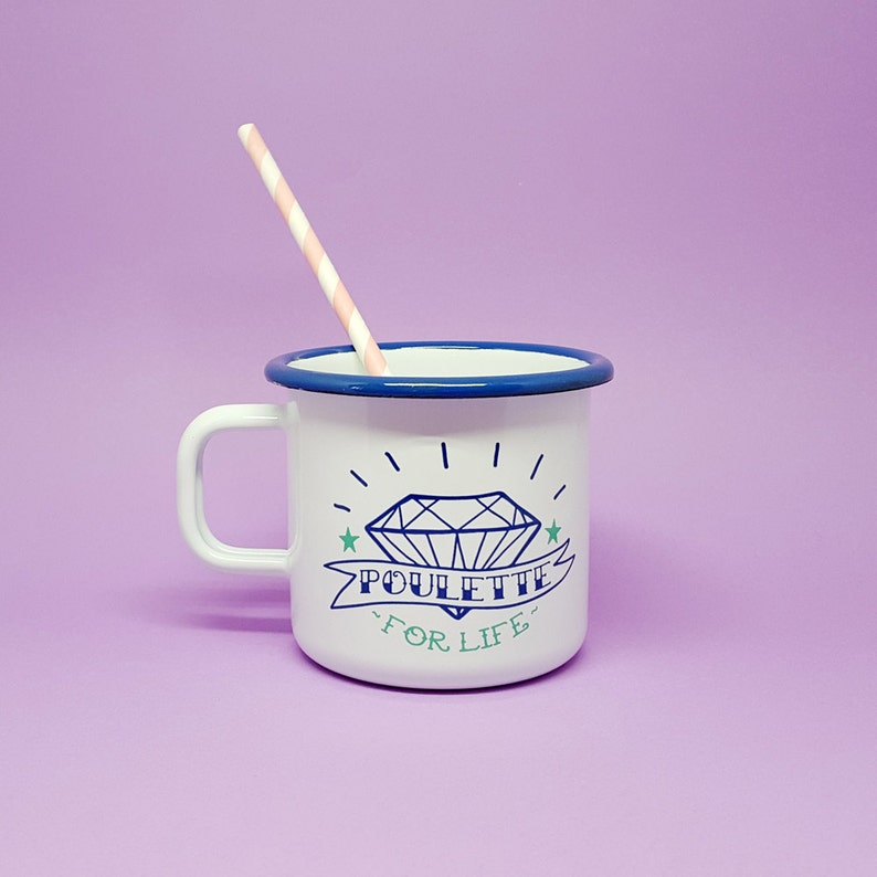 Retro enamel mug Poulette For Life image 0