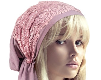 3f3e35bd553 Lavender Purple Tichel Head Scarf Lilac Hair Snood Chemo Hat Cancer Cap  Friendly Fancy Floral Lace Gift for Women Girlfriend Mom ShariRose