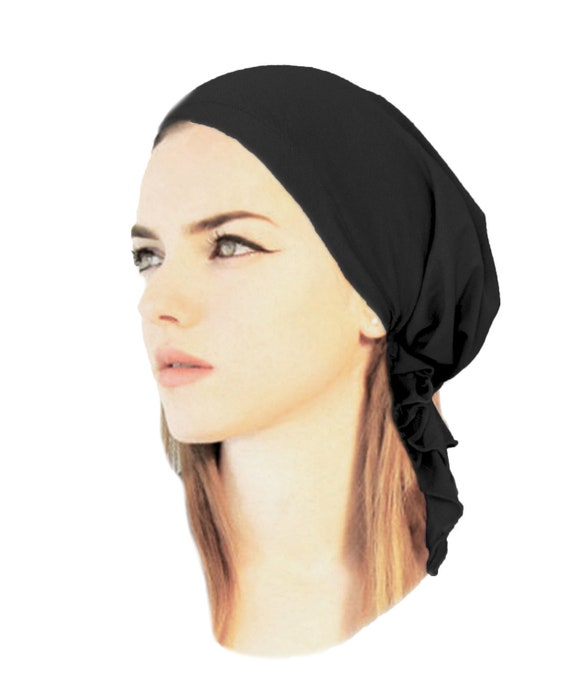 6ab77fad615 Black tichel soft cotton head scarf charcoal grey white pre