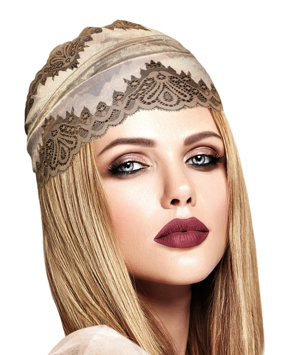 s323 Amazing Ladies Rétro Vintage Spring-Look Elastic Beige Floral Headband