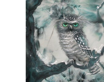 """Digital Print with Pet, Cute Owl for Instant Download, 20""""x15"""", fairytale, bird on printable image, birthday gift for girl, boy, Dady, Mom"""