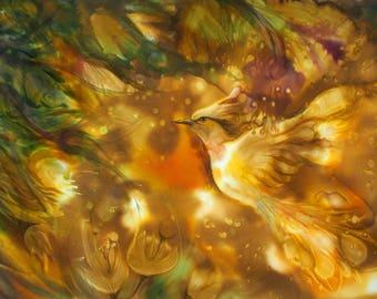 Entzuckend Schöne Landschaft Mit Feuervogel, Kunstdruck Auf Leinwand, Entspannen, Garten  Eden, Fantasie Orange Gemälde
