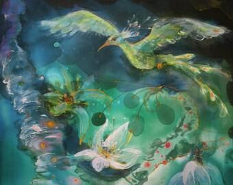 Hochwertig Kunstdruck Auf Leinwand Von Original Gemälde Mit Phoenix, Petrol  Fantasielandschaft, Schlafzimmer Dekor, Entspannung