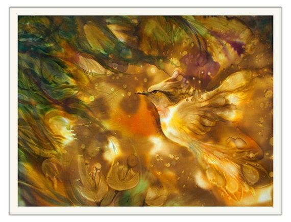 Gold Feuervogel Im Fantasy Garten Eden Kunst Druck Auf | Etsy