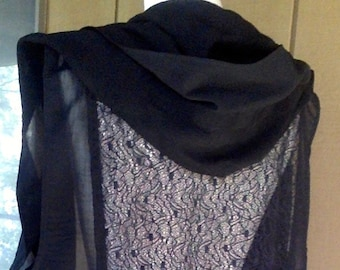CUSTOM Lace Back Vest with Hood, Wool Vest with Lace Back