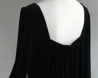 SAMPLE Black Silk VELVET Dress, gathered in back, very full and swingy, ready to ship!, custom options always available too