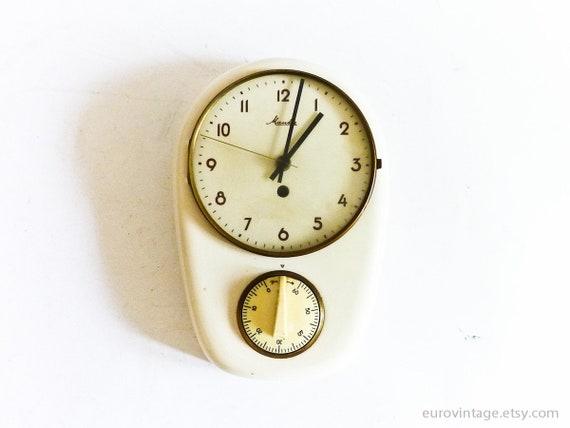 Orologio da parete cucina vintage Mauthe w Timer / Orologio da parete in  porcellana / orologio da parete in ceramica bianca di lavoro