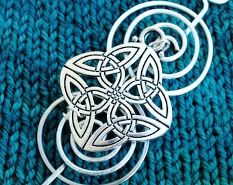 Celtic Knot Shawl Pin with Triquetra in Silver