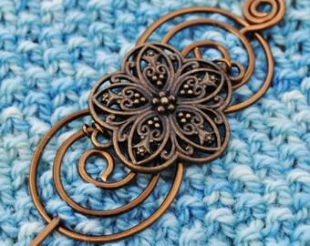 Flower Shawl Pin in Vintage Bronze Wire