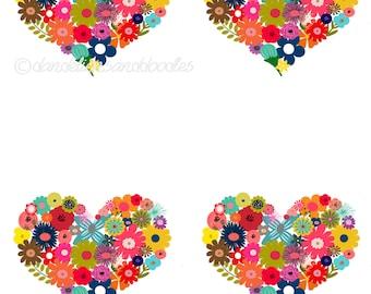 Floral heart Digital/Printable  Cards- INSTANT DOWNLOAD