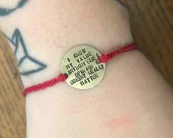 Agent Carter - Peggy Carter - I Know My Value quote bracelet