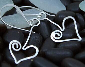 HIZE ER064 Thai Karen Hill Tribe Silver Heart Love Ring Link Dangle Earrings 49x27mm