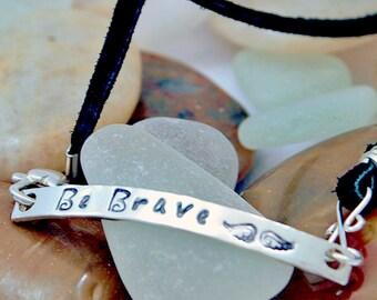 Stamped Wrap Bracelet - Sterling Silver - Leather - Handmade