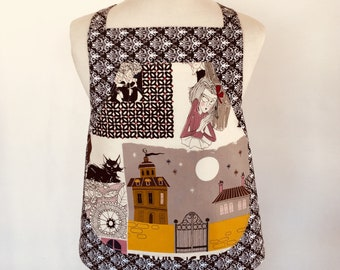 Ghastlies Child Apron-Children-Kid-Gothic-Girl-Cartoon-Black Cat-Full Moon-Damask-Pink-Alexander Henry-Edward Gorey Style-Reversible-2 in 1