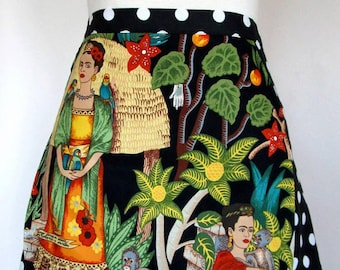 Apron-Frida-Frida's Garden-Frieda-Hostess-Polka Dot-Mexican-Artist-Hand-Milagros-Monkey-Parrots-Doves-Garden-Alexander Henry-Day of the Dead