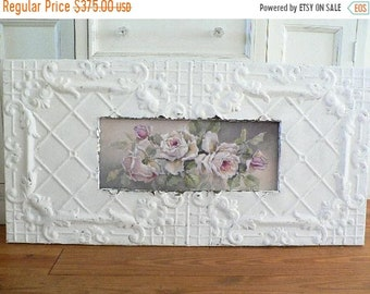 ON SALE Shabby Antique Ceiling Tin Framed WHITE Repasy Roses print