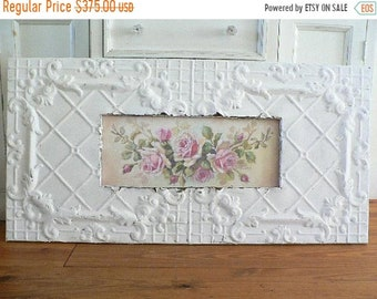 ON SALE ON Sale! Shabby Antique Ceiling Tin Framed Pink Roses by Repasy