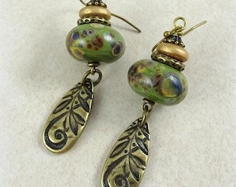 Bronze Teardrop Earrings, Rustic Olive Green and Gold Artisan Earrings - Rustic Elegance with TierraCast Artisan Charms, Green Earrings