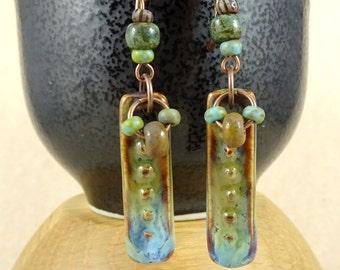 Green Earrings, Artisan Ceramic Earrings, Blue, Brown and Olive Green Glazed Ceramics with Picasso Beads, Boho Artisan Earrings, Lightweight