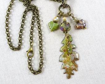 Colorful Leaf Necklace, Leaf Necklace, Artisan Necklace, Long Necklace, Brass Chain, Nature Necklace, Chartreuse Green Charm Necklace