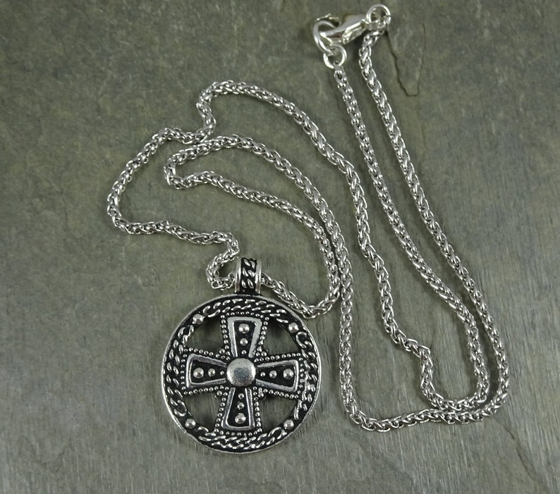 Silver Cross Necklace Antiqued Silver Necklace Doubloon Pendant Rhodium Rope Chain with Opulence Pendant Silver Opulence Necklace