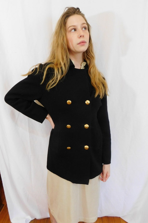 Vintage Double Breasted Black Wool Jacket Made in… - image 5