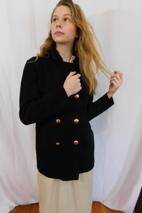 Vintage Double Breasted Black Wool Jacket Made in… - image 6