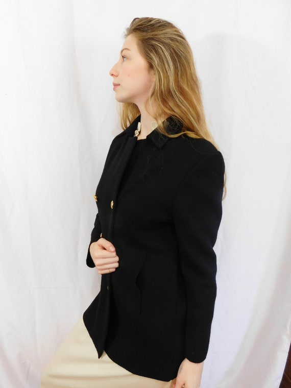 Vintage Double Breasted Black Wool Jacket Made in… - image 7