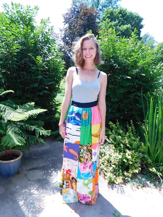 Vintage Patchwork Maxi Skirt, Alice Polynesian Fas