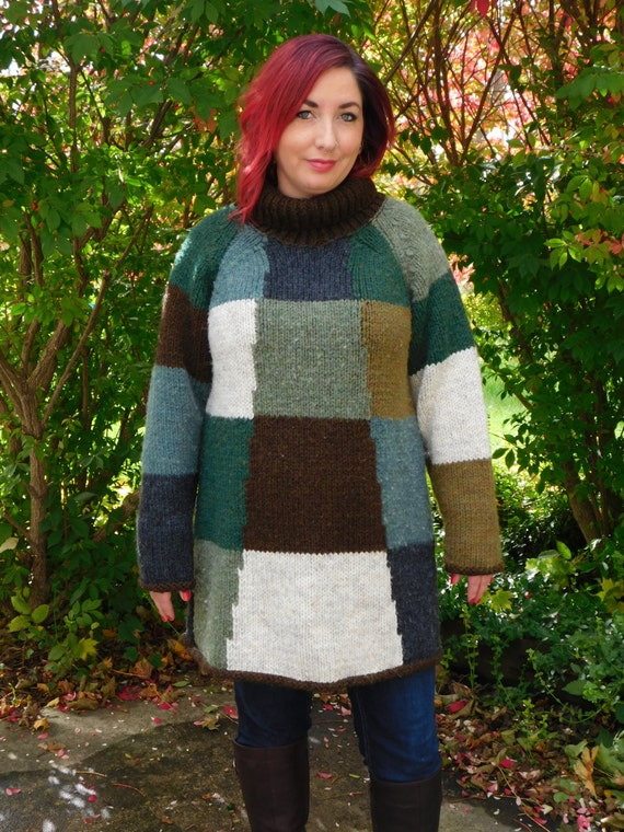 ba0172d69b2 Chunky Knit Colorblock Sweater Dress Oversized Jumper
