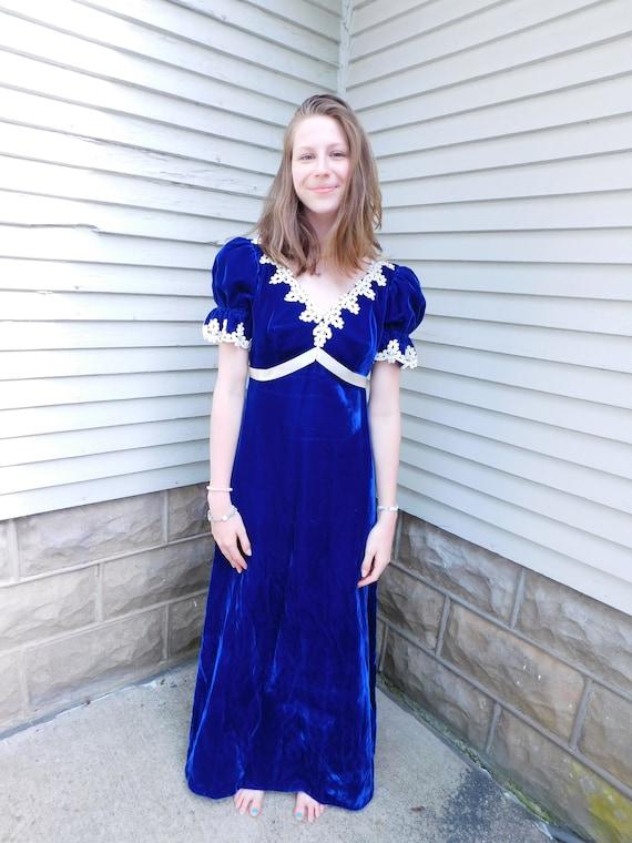 Vintage Blue Velvet and Lace Maxi Dress
