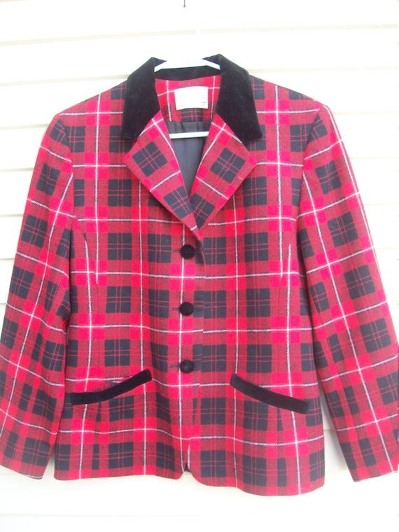 Pendleton Wool Red Plaid and Black Velvet Trimmed… - image 3