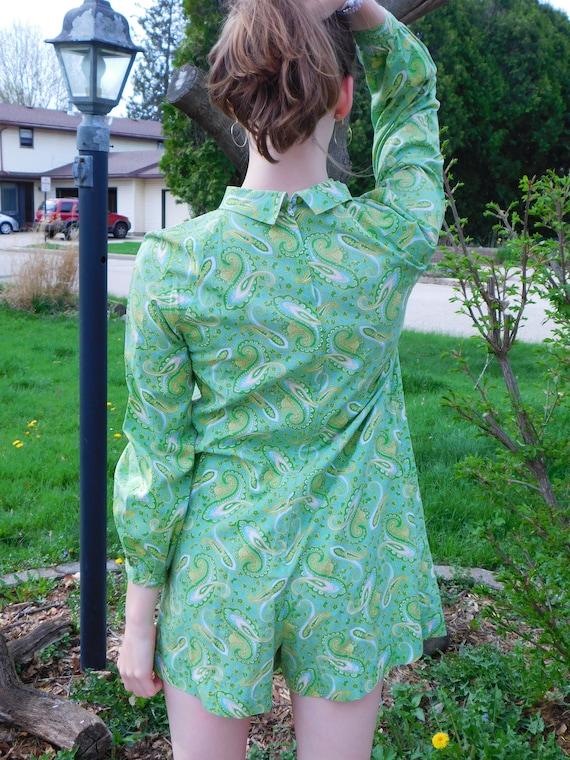 50c04628499b Vintage 60 s Paisley Go-Go Romper Light Green Cotton