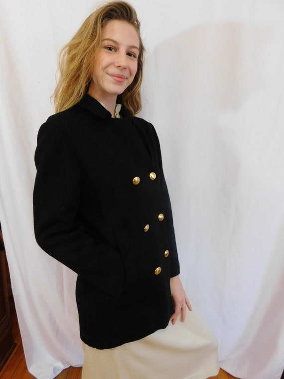 Vintage Double Breasted Black Wool Jacket Made in… - image 8