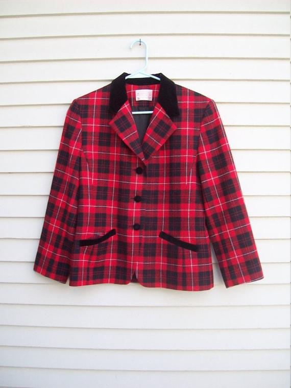 Pendleton Wool Red Plaid and Black Velvet Trimmed… - image 1