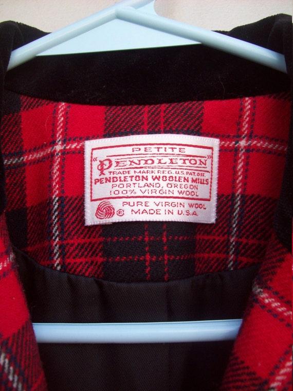 Pendleton Wool Red Plaid and Black Velvet Trimmed… - image 5