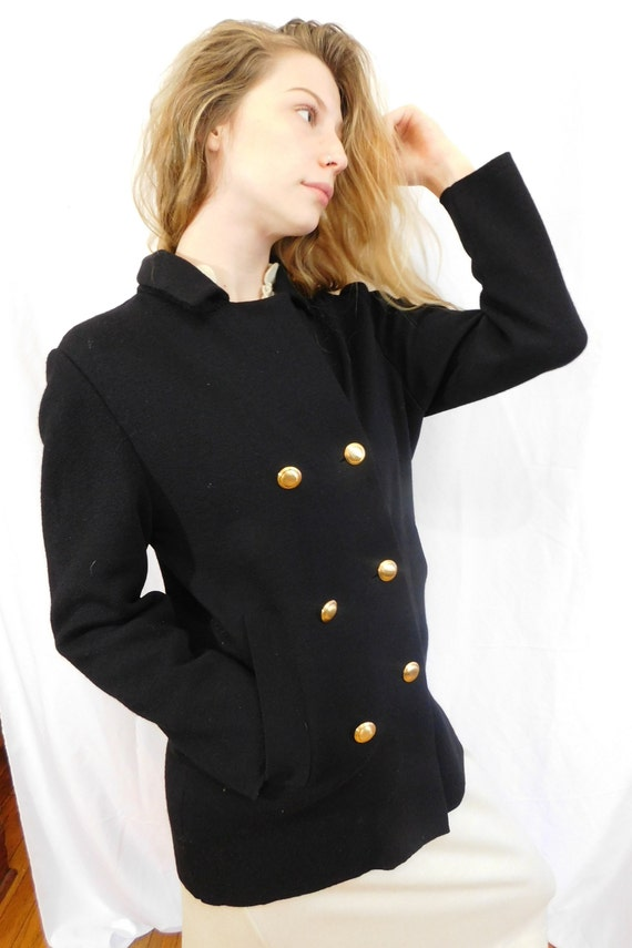 Vintage Double Breasted Black Wool Jacket Made in… - image 4
