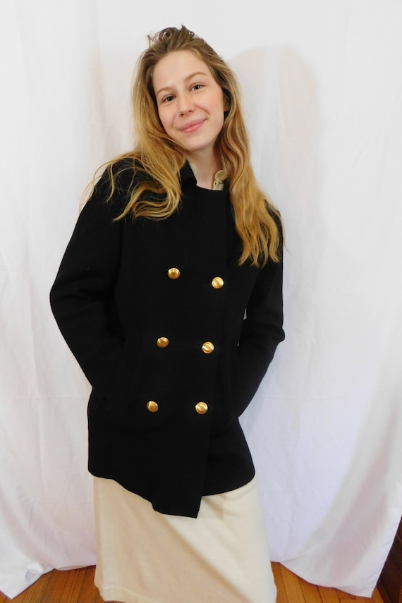 Vintage Double Breasted Black Wool Jacket Made in