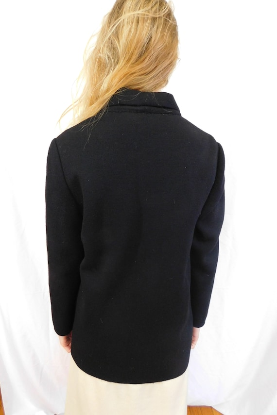 Vintage Double Breasted Black Wool Jacket Made in… - image 9