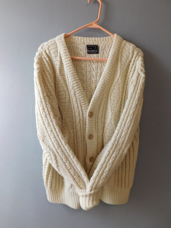 Vintage Knit Fisherman Cardigan by Towncraft Size