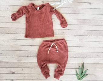 3b7d20fc3 Waffle knit baby boy coming home outfit Newborn boy clothes Hospital outfit  boy going home outfit thermal baby set rust baby clothes