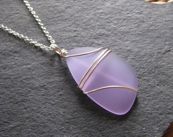 Light Purple Beach Glass Gift for Mother Wire Wrapped Friend Sterling Silver /& Purple Sea Glass Earrings Light Weight Dangle Birthday