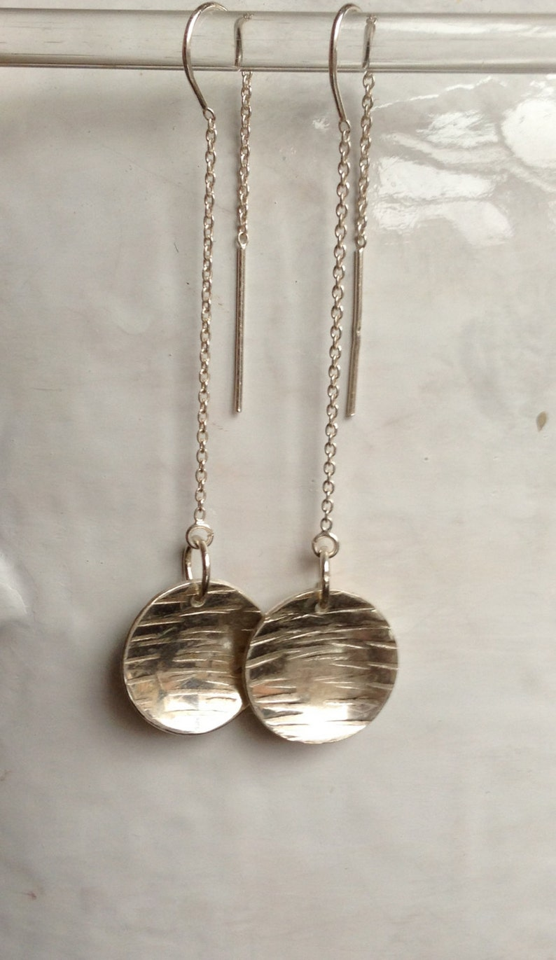 5933b2f01 Sterling Silver Hammered Earrings On Chain backs The Bleu   Etsy