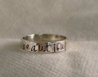 BEAUTIFUL on the Inside and Out ring.  4mm Sterling Silver Personalized Ring is Stamped on Both the Inside/Outside.Recycled.